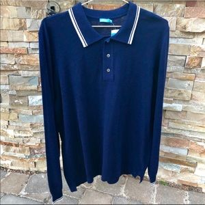 J. McLaughlin Cashmere Striped Tipping Polo Shirt